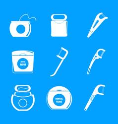 floss dental teeth icons set simple style vector image