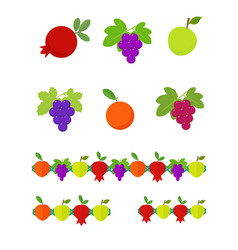 fruits set and garlands vector image