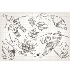 Funny hand drawn japanese doodles vector