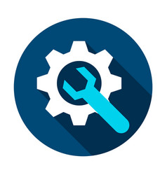 gear and wrench circle icon vector image