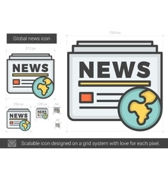 Global news line icon vector