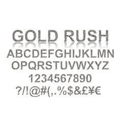 gold rush silver alphabetic fonts vector image