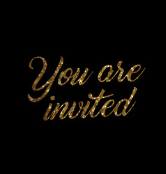 Golden glitter of isolated hand writing word you vector