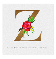 Golden letter z watercolor floral background vector