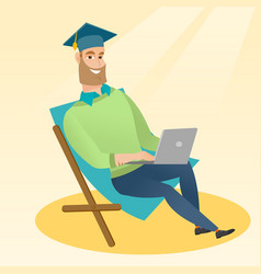 Graduate sitting in chaise lounge with laptop vector