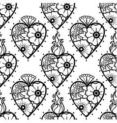 Graphic hearts with floral decorations vector
