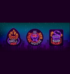 grill is a set of neon-style logos vector image