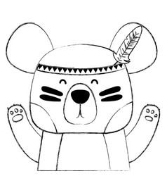 Grunge cute bear animal with feathers decoration vector