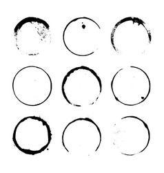 Grunge paint circle element set vector