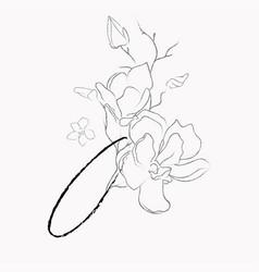 Handwritten line drawing floral logo monogram o vector