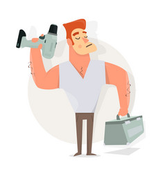 Handyman with drill in hand and tools vector