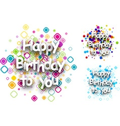 Happy birthday to you cards vector