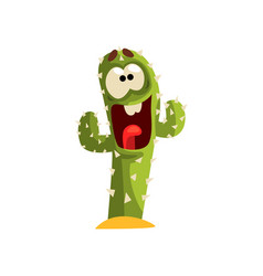 happy cactus character laughing succulent plant vector image