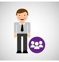 happy man icon group social network design vector image