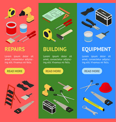 home repair banner vecrtical set isometric view vector image