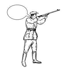 Hunter with rifle engraving vector