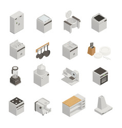 Kitchen equipment isometric icons set vector