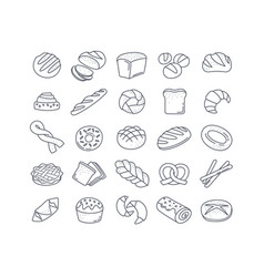 large set 25 black and white bread icons vector image