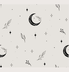 line floral seamless pattern moon stars vector image