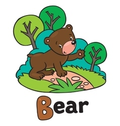 Little funny bear for ABC Alphabet B vector image