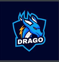 logo dragon simple mascot style vector image