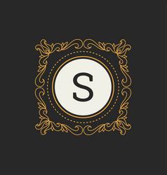 Luxury logo template for restaurant vector