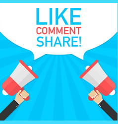 Male hand holding megaphone with like comment vector