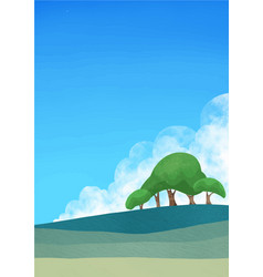 Meadow green grass with big trees and sky vector