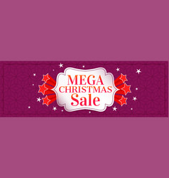 Mega christmas sale banner with stars vector