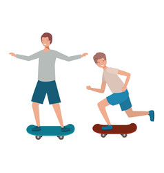 men with skateboard avatar character vector image