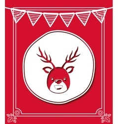 Merry christmas frame with reindeer isolated icon vector