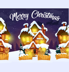 Merry christmas greeting card with night village vector