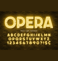 Neon light 3d alphabet led extra glowing font vector