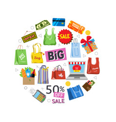 online shopping and sale items gifts shopping vector image