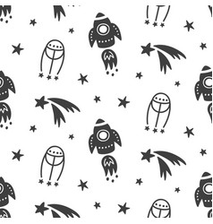 outer space galaxy childish seamless pattern vector image