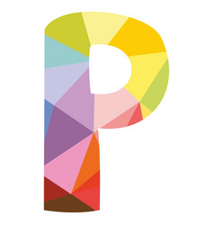 P colorful letter isolated on white background vector