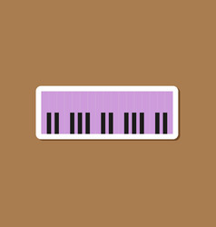 Paper sticker on stylish background piano keys vector