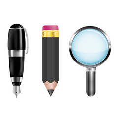 pencil fountain pen magnifying glass vector image