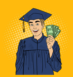 pop art happy graduated student with money vector image