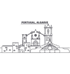 Portugal algarve line skyline vector