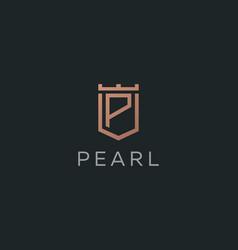 premium monogram letter p initials logotype vector image