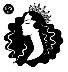 queen woman in crown black and white silhouette vector image
