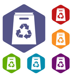 Recycle shopping bag icons set vector