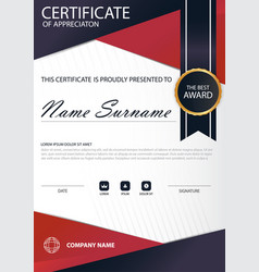 Red line elegance vertical certificate with vector