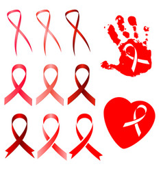 red ribbon in different versions vector image