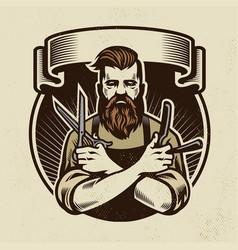 Retro design barberman with scissors vector