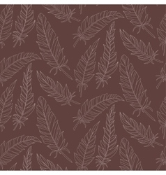 Seamless background vintage carved feathers vector image