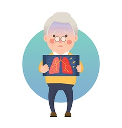 Senior Man Having Inflammation Lung vector image