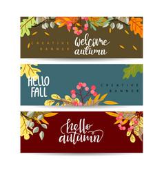 Set autumn sale banners design discounts vector