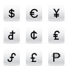 Set of beautiful silver currency icons vector